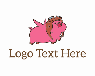 Pig - Flying Pig Pilot logo design