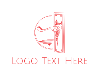 Door - Vintage Door Handle logo design