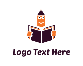 Education - Orange Pencil Reading Learning logo design
