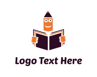 Newspaper - Orange Pencil Reading Learning logo design