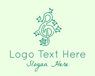 Tree - Music Vine Leaves logo design