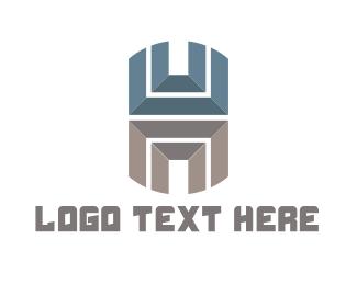 Fabrication - Metallic Letter H logo design