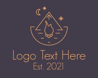 Evening - Minimalist Tent Bonfire logo design