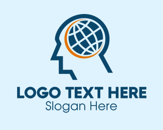 Thinking - Man Global Brain  logo design