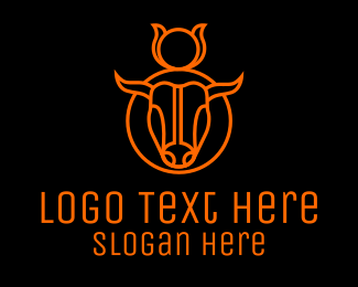 Bison - Minimalist Orange Bull logo design