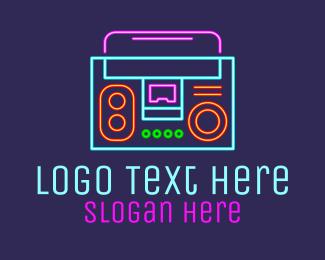 Song - Neon Music Stereo Boombox logo design