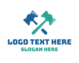 Correct - Gavel Axe Cross logo design