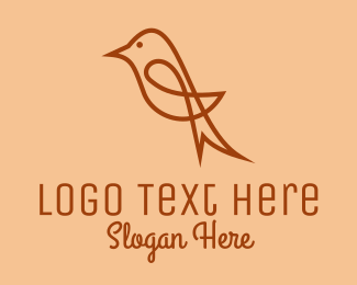 Nightingale - Sparrow Bird Outline  logo design