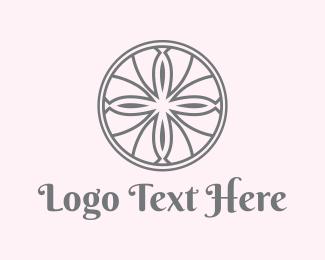 French - Floral Circle logo design