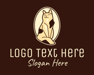 Grooming - Happy Sitting Cat  logo design