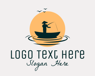 Fishing Boat - Fisherman Boat Sunset logo design