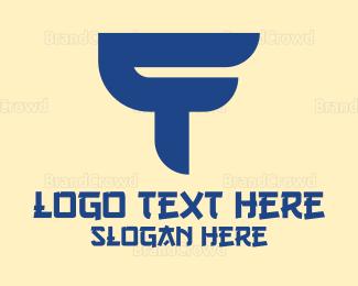 Calligraphy - Blue Asian T logo design