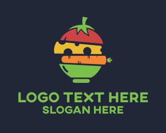 Vegan Food - Healthy Food Bowl Restaurant logo design