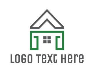 Real Estate House - Grey Green House logo design