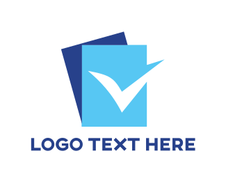 Tick - Blue Check List logo design