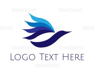 Airspace - Blue Bird Flower logo design