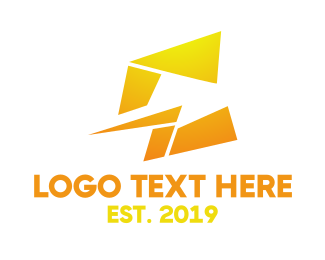 Lightning - Yellow Abstract C logo design