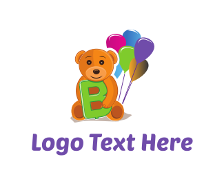 Playful - Bear Balloons logo design