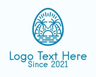Island Living - Blue Sunset Beach logo design