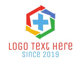 Math - Hexagon Arrow Medic logo design
