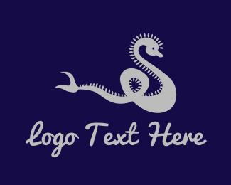 Mythological - Silver Dragon logo design