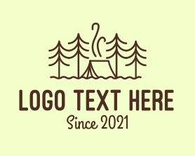 Hiking - Forest Camping Tent logo design