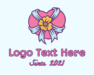 Lovelife - Heart Flower Ribbon logo design