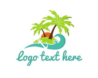 Sunset - Anchor Island logo design