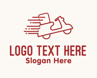 Logistic - Red Fast Delivery Scooter logo design