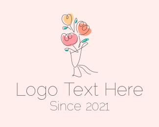 Rosebud - Flower Bouquet Outline logo design