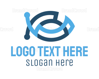 Technological - Circuit Fish logo design
