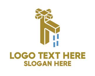 Bathroom - Golden Faucet logo design