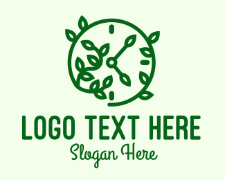 Clock - Green Nature Time Clock logo design