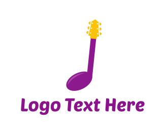String - Guitar Music logo design