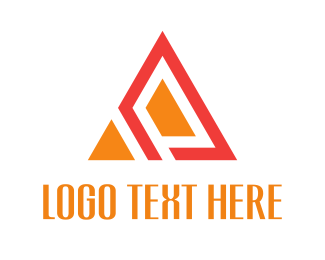 Flat - Orange Abstract Triangle logo design