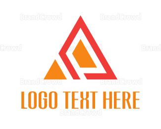 Flat - Orange Abstract Triangle logo design