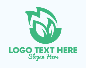 Fire - Green Leaf Fire logo design