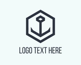 Boating - Black Anchor logo design