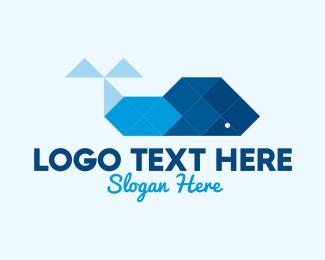 Geometrical - Blue Geometric Whale logo design