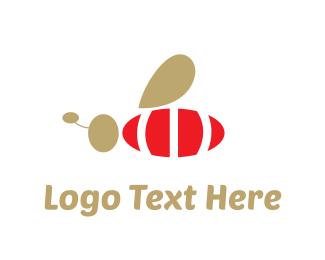 Bee - Red Bee logo design