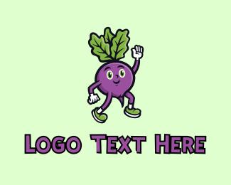 Fresh Produce - Radish Vegetable Character logo design
