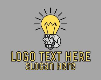 Robotics - Robot Light Lightbulb logo design