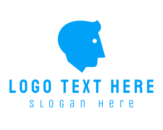 Recruiter - Blue Man Head logo design