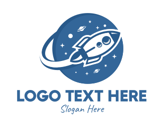 Space Capsule - Blue Rocket Space Exploration logo design