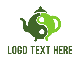 Peace - Yin Yang Green Tea logo design