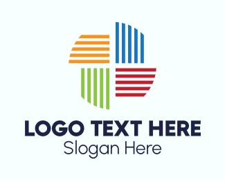 Stripes - Multicolor Pinwheel Stripes logo design