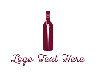 Vineyard - Bottle & Needle logo design