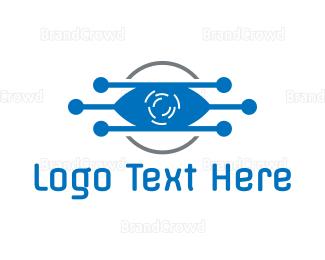 Eye Care - Blue Tech Eye logo design