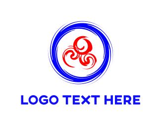 Spin - Blue & Red Swirls logo design
