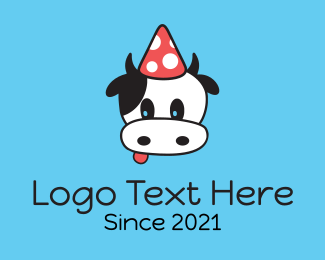 Cattle - Cow Party Hat logo design